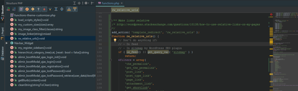 Structural outline > zoom into code > zoom out to minimap